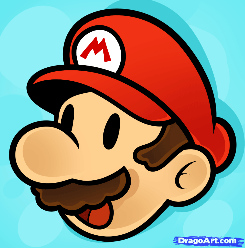Mario clipart easy Mario  draw Step to