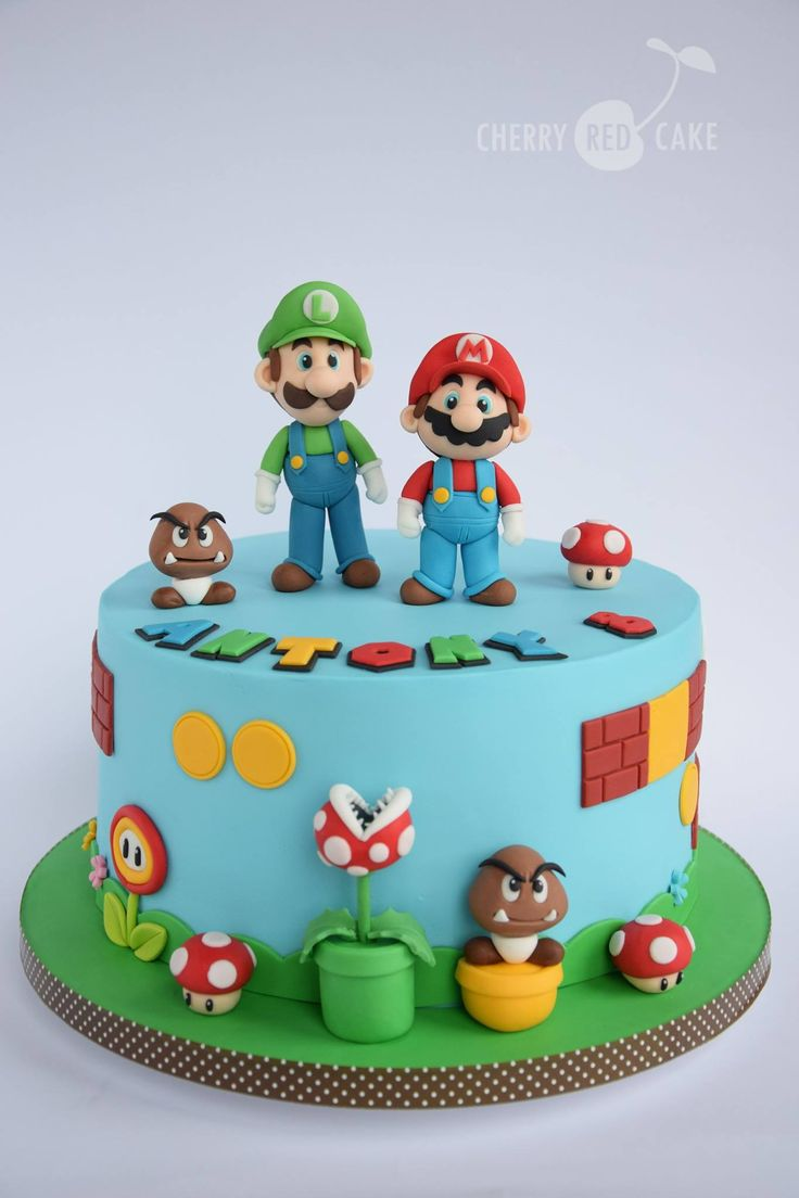 Drawn cake mario Bros cake Mario mario ideas