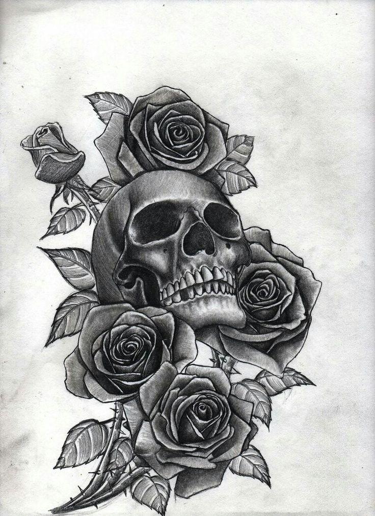 Drawn rose bush half sleeve Roses Pinterest ideas Skull 25+
