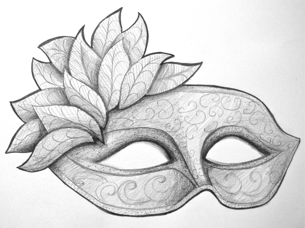 Drawn masks Coloring Pages Mardi stock