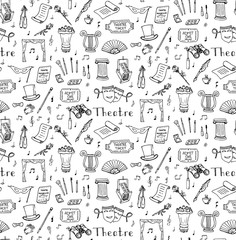 Drawn masks acting Search Theatre illustration theater concept