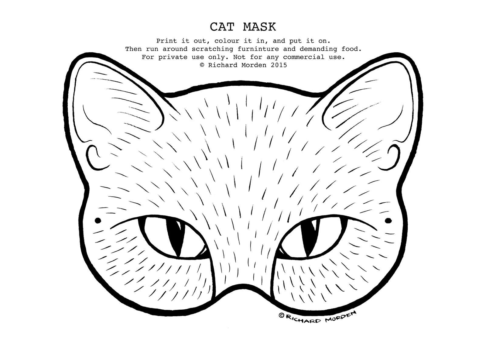 Drawn masks cat In mask Richard Morden paper