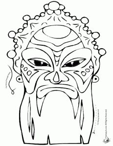 Drawn masks color Dolls Chinese Mask Page Printables