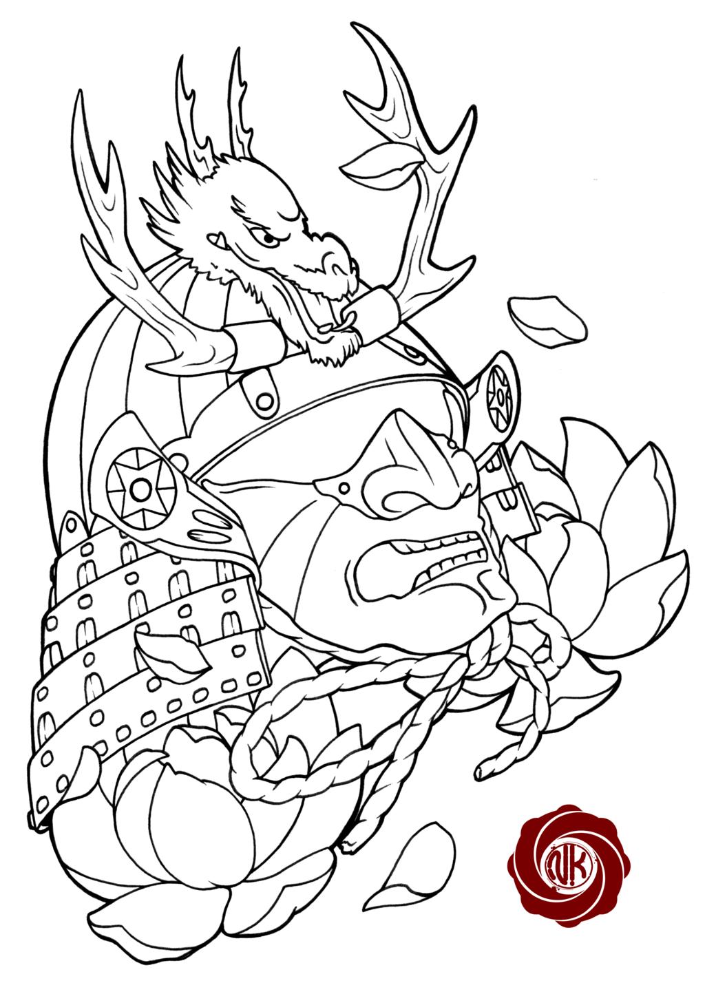 Drawn samurai knee Warrior Deviantart Pinterest Dragon Google