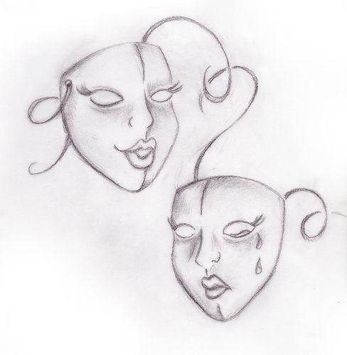 Drawn masks drama Comedy Masks Theater 25+ Drama