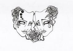 Drawn masks drama By mask com Drama Tattoo