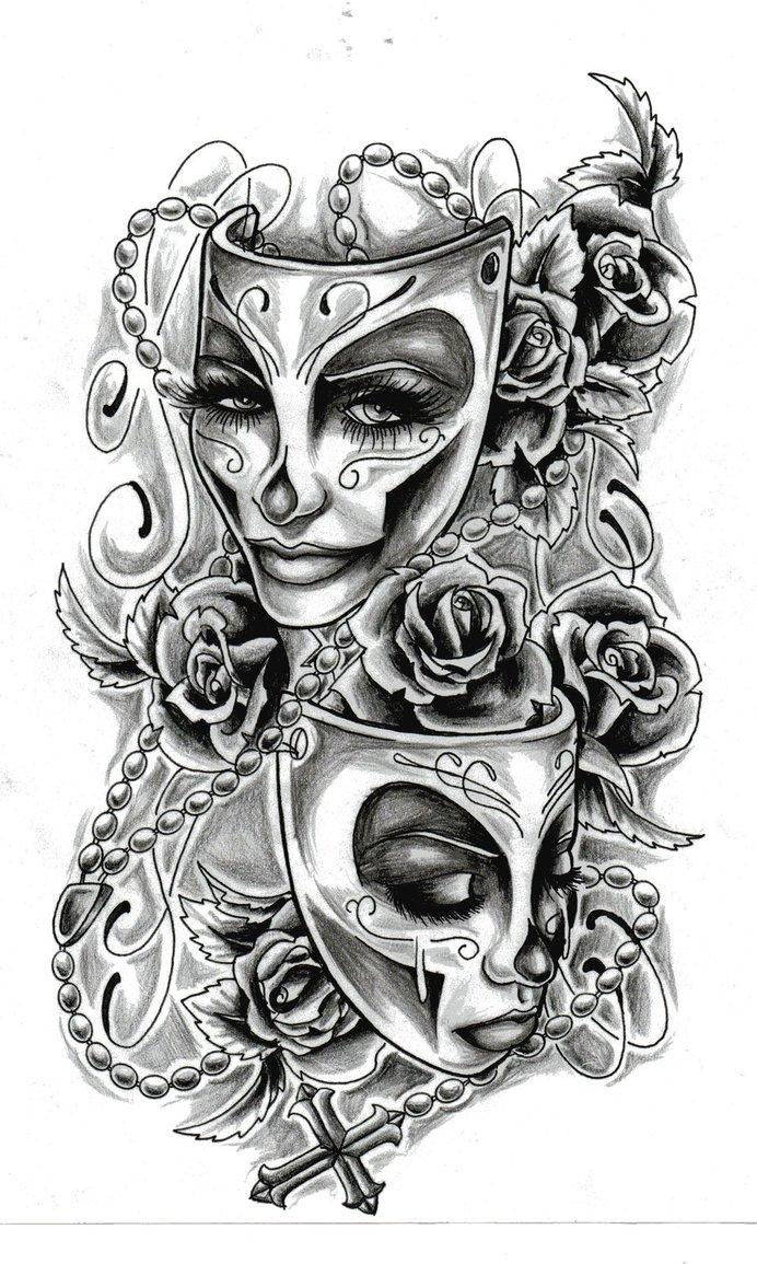 Drawn masks drama Images Best Tragedy Pinterest Tattoos