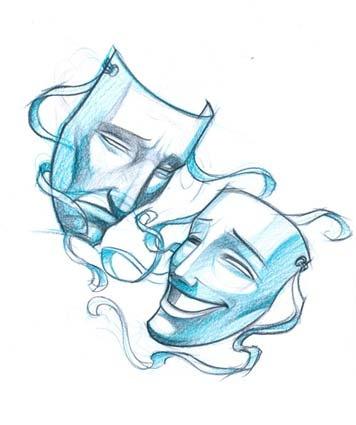 Drawn masks drama Sketch Masks Theatre on Theatre