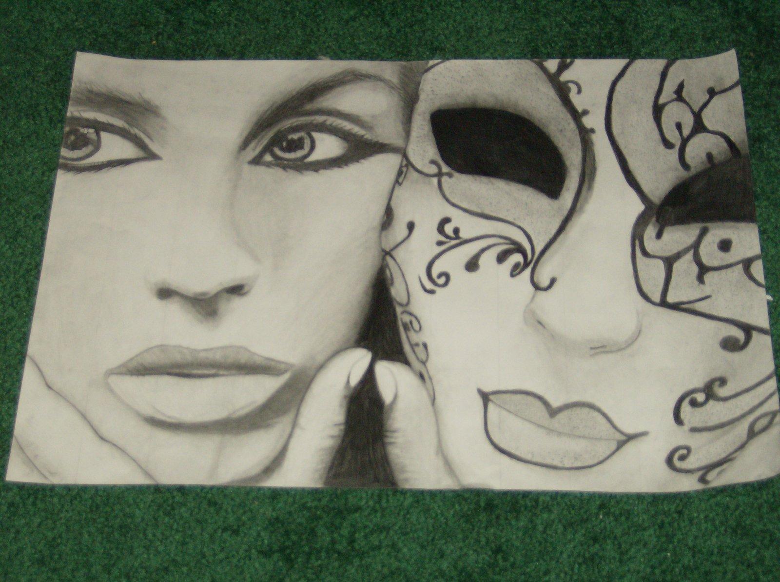 Drawn masks face drawing Mask Behind Face SasoriMaster on