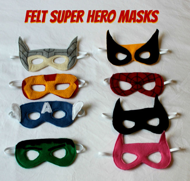 Drawn masks felt mask Homemade Superhero Felt Masks Superhero