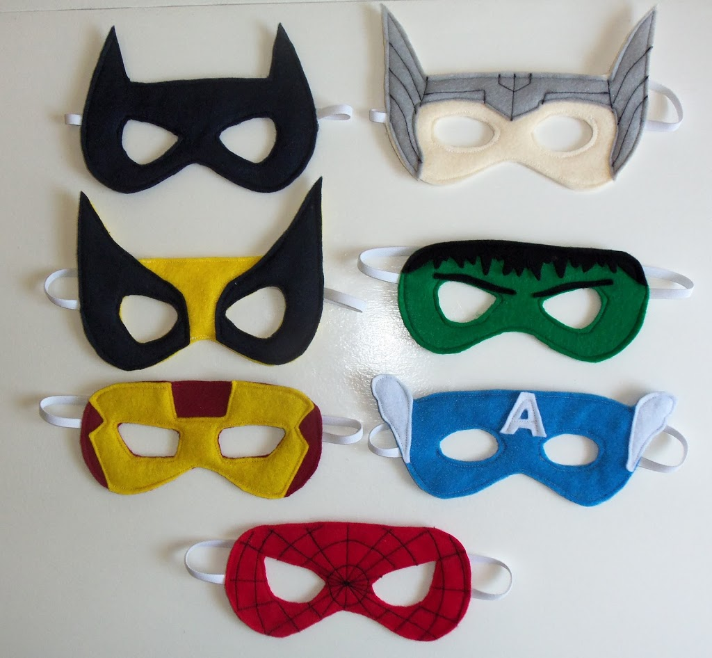 Drawn masks felt mask Templates Felt Templates Superhero Superhero