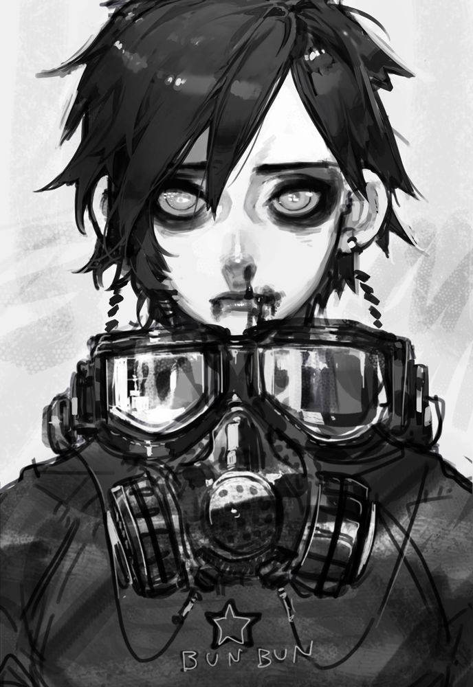 Drawn snipers anime boy Mask Gas anime Google digital