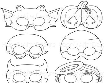 Drawn masks halloween mask Costume corn printable Masks bat