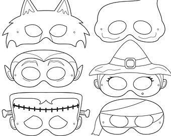 Drawn masks halloween mask Máscaras Halloween ideas basteln Etsy