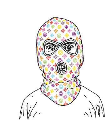 Drawn masks robber Robber Bingo  Mr Luxury