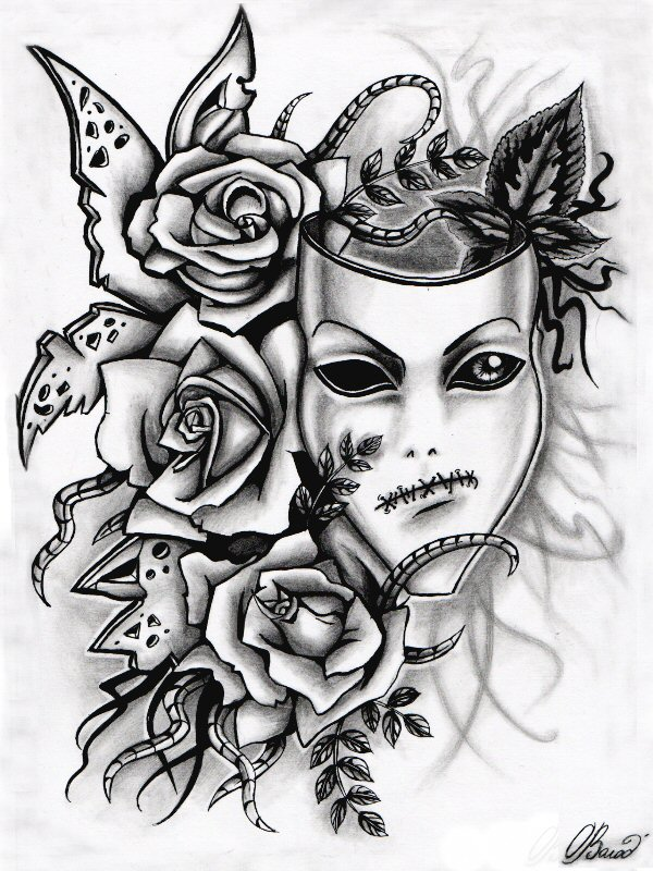 Drawn masks rose What The roses roses