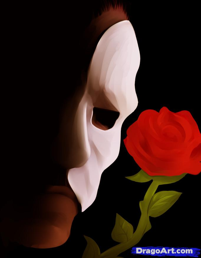 Drawn masks rose Opera how the Phantom