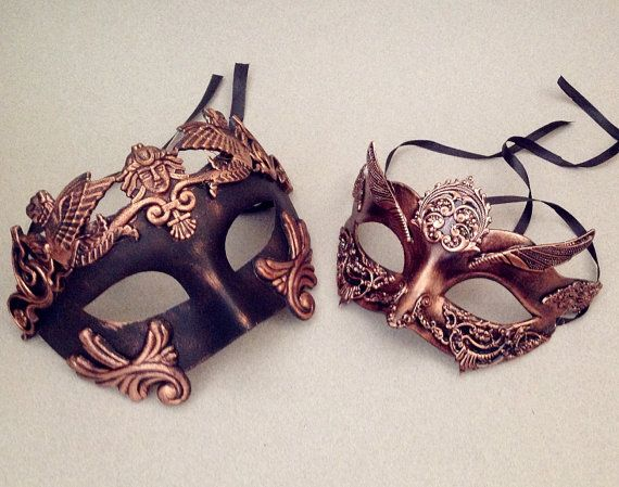 Drawn masks rose Pinterest Metalic Gold Masquerade Couple