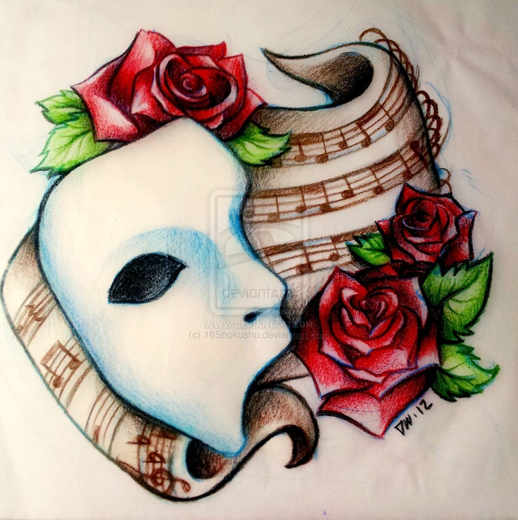 Drawn masks rose Tattoo phantom_of_the_opera_tattoo_design_by_16shokushu (10241029)~ Tattoo