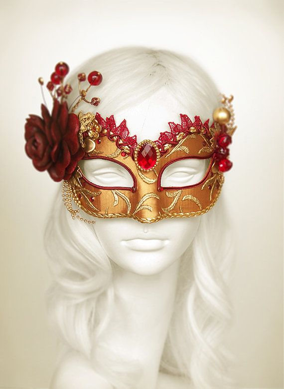 Drawn masks rose Halloween Burgundy Gold Leaves Red