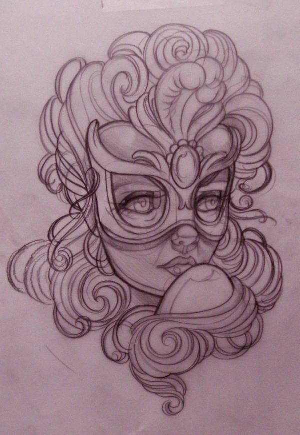 Drawn masks rose Masquerade EMILY tattoo a Pinterest