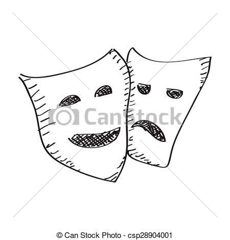 Drawn sad doodle Mask of csp28904001 Clipart happy