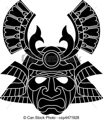 Drawn masks samurai Monochrome Vector a Monochrome samurai