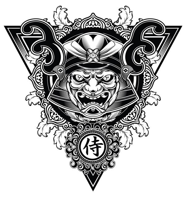 Drawn masks samurai Unleashed a a Work samurai