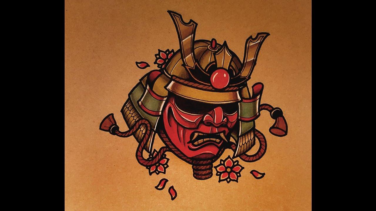 Drawn masks samurai Tattoo Samurai Samurai YouTube How