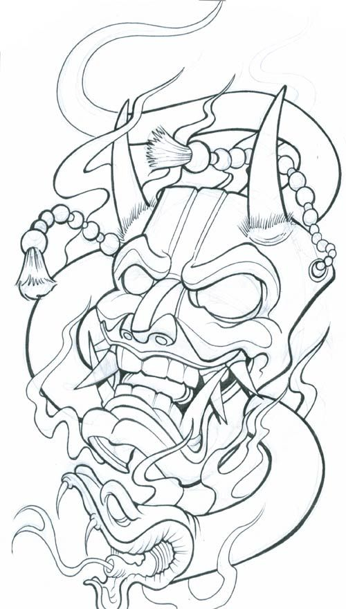 Drawn snake demon Pesquisa tattoo Oni on 25+
