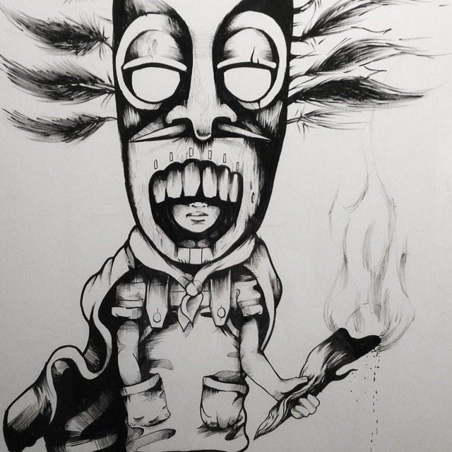 Drawn masks shaman #mask #drawing #kid Closer #drawing