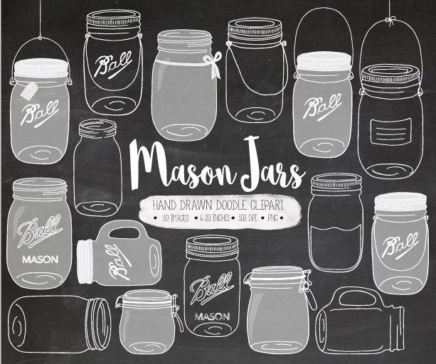 Mason Jar clipart masson Chalk Mason Hand Mason Drawn