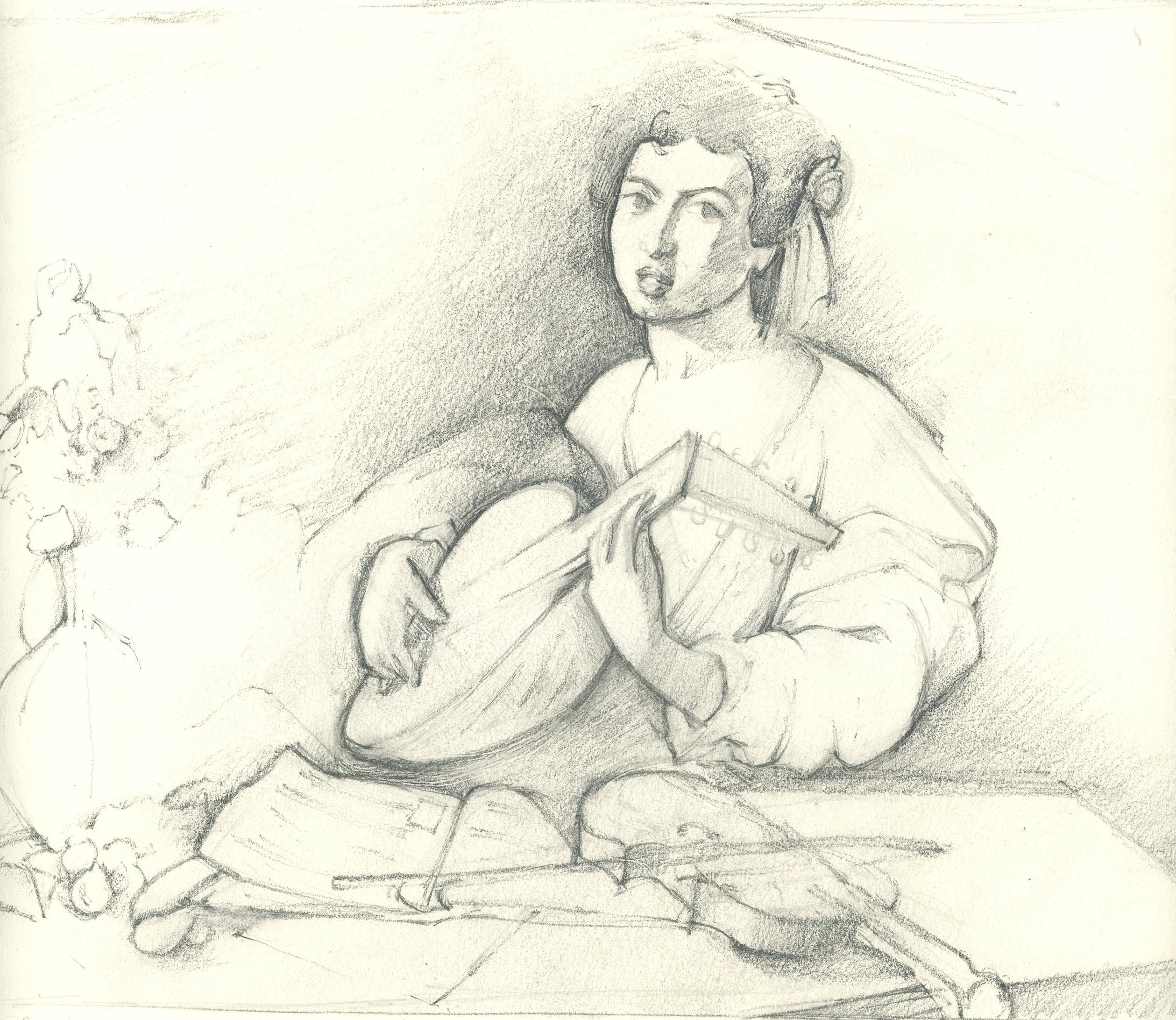 Drawn figurine composition Practice Old the Lute drawing