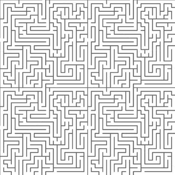 Drawn maze complicated And drawn maze Leaf patterns