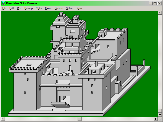 Drawn maze daedalus Castle: Maze battlements and orthographic