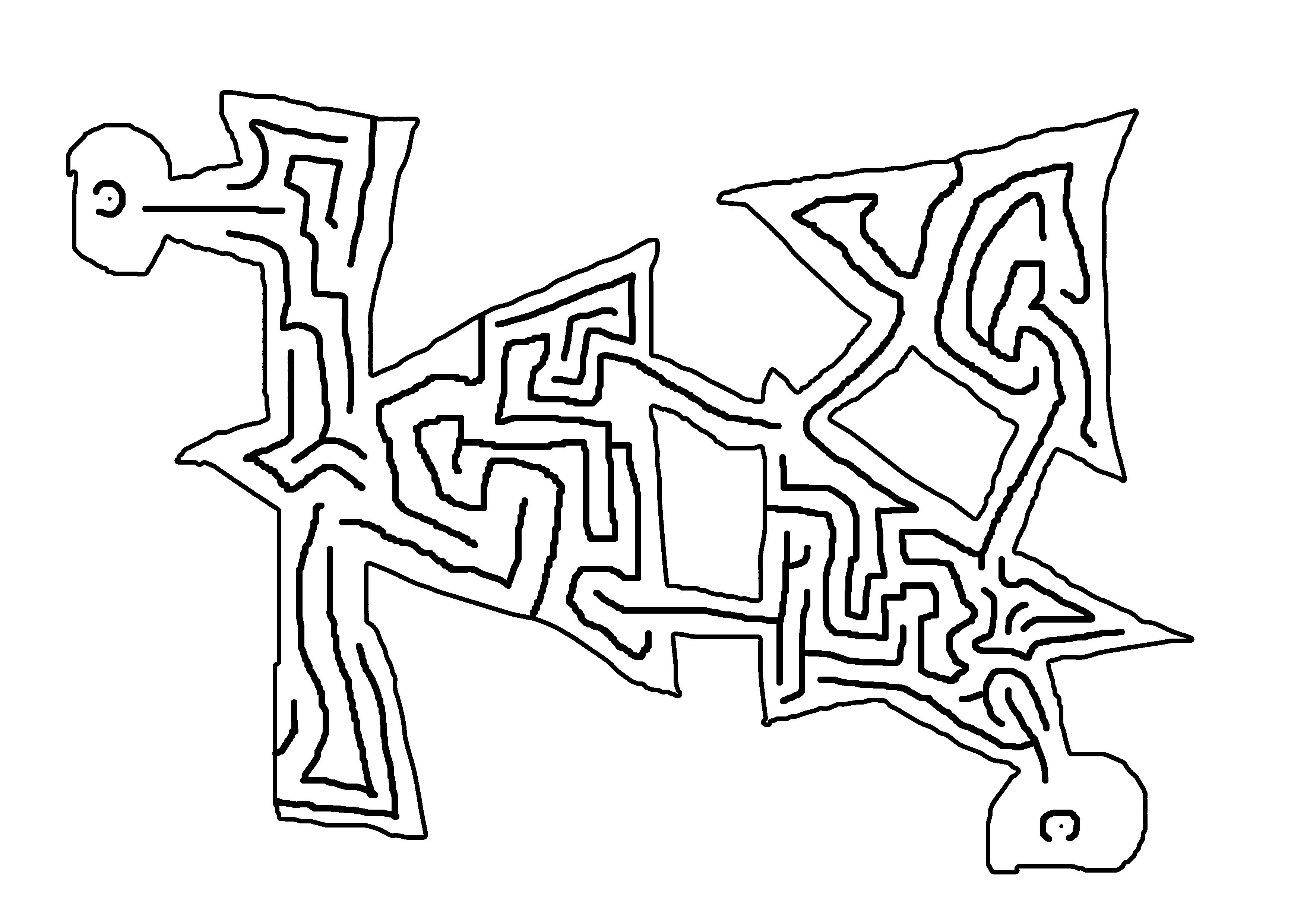 Drawn maze easy Shape left down dot drawn