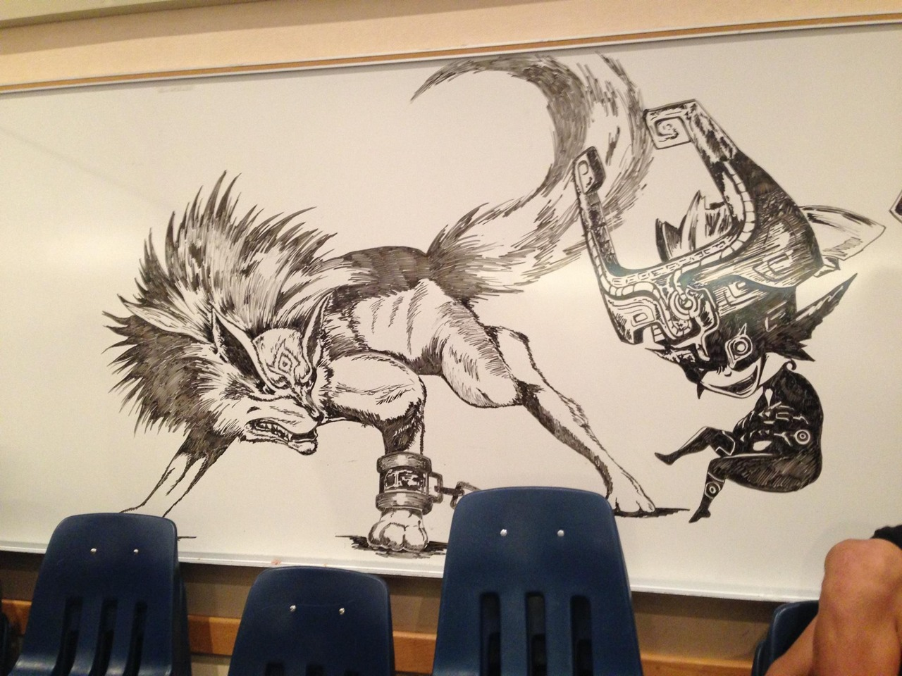 Drawn maze janitor – Midna drawing in cafeteria