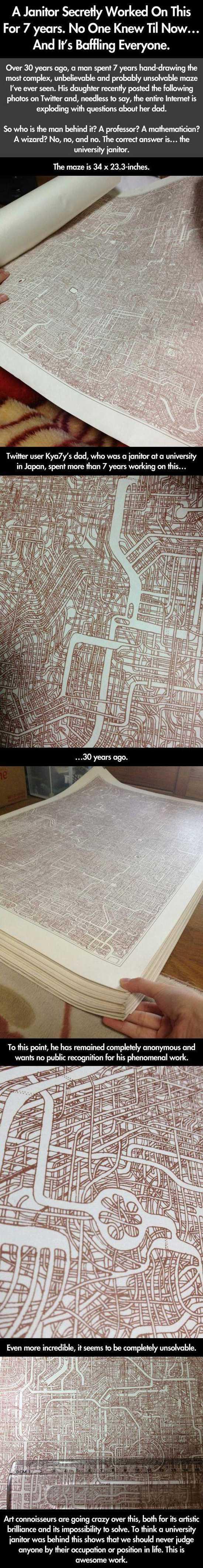 Drawn maze janitor Janitor's university secret the secret