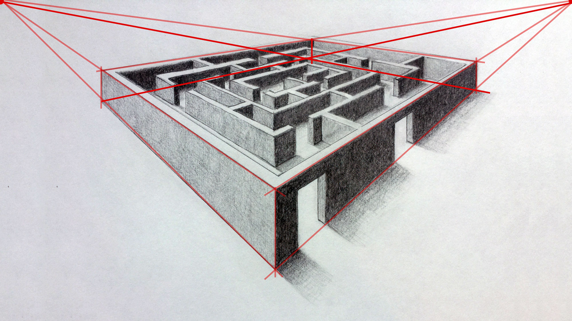 Drawn maze labyrinth 3D of Two Point Back