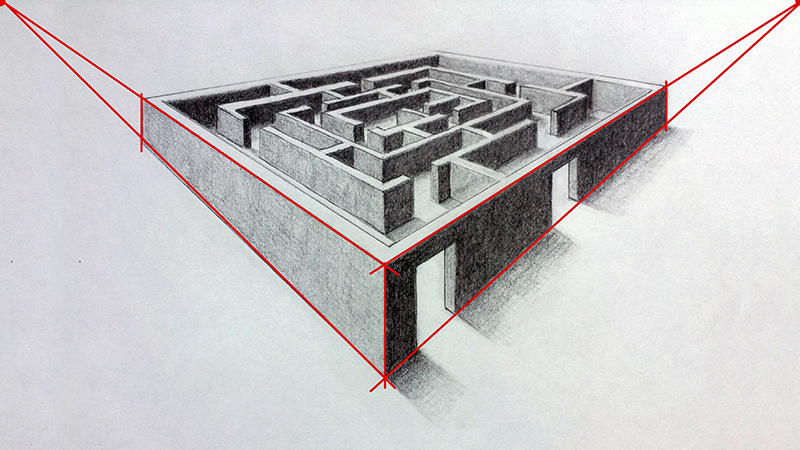 Drawn maze line Two Perspective Back of maze