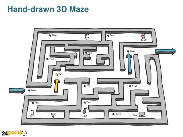 Drawn maze line PowerPoint Maze drawn Editable