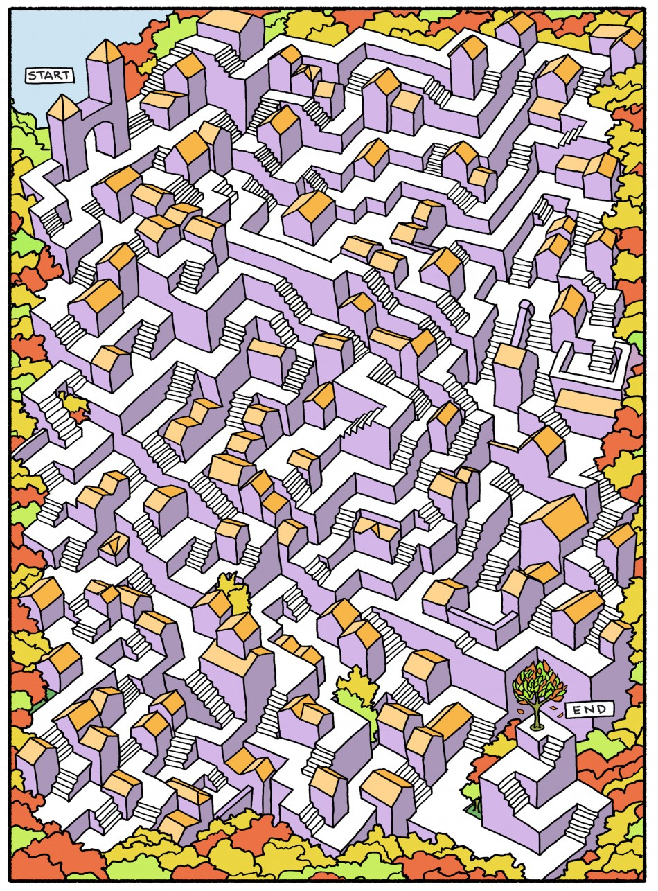 Drawn maze long A and to From Book