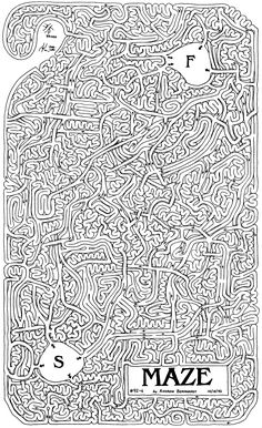Drawn maze most complex Nearly challenge Printable  10