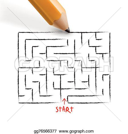 Drawn maze pencil White pencil drawn on by