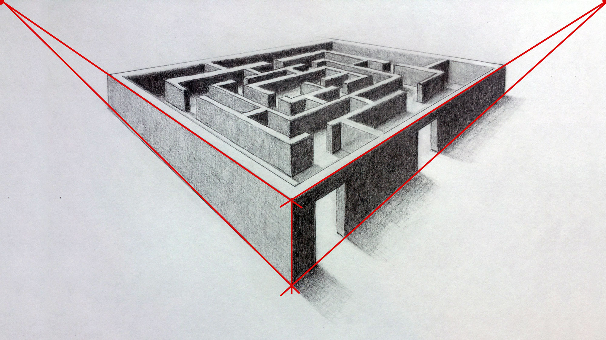 Drawn maze pencil Point perspective 3D Perspective of