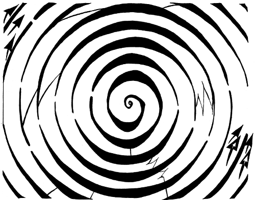 Drawn maze spiral Eliptical Art Illusion maze by
