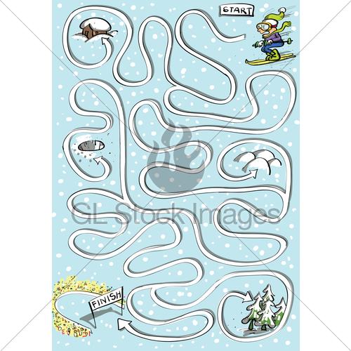 Drawn maze winter Stock GL Winter Images Standard