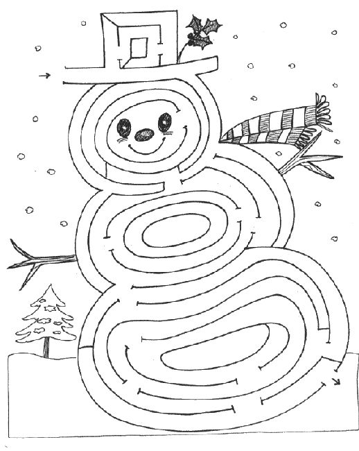 Drawn maze winter On Coloring and 1 Page
