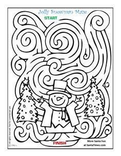 Drawn maze winter Puzzles Winter Kids through Classroom
