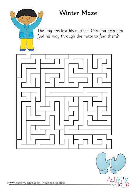 Drawn maze winter 2 Winter Maze Mazes Winter